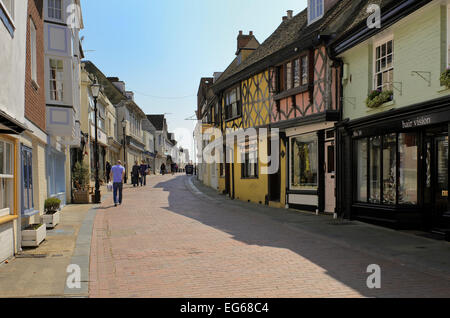 view along west street faversham in kent - Stock Photo