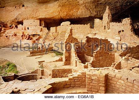 Long House, Wetherill Mesa.  Mesa Verde National Park, Colorado - Stock Photo