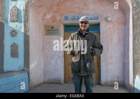 Main door of the Central Mosque, Olgii, Western Mongolia - Stock Photo