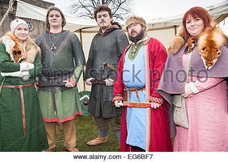 Anglo Saxon encampment  Jorvik Viking Festival York North Yorkshire England UK - Stock Photo