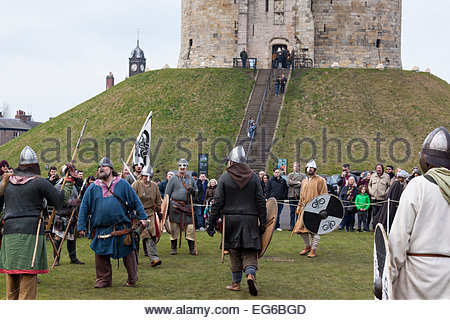 Jorvik Viking Festival 2015 . Vikings and Anglo-Saxon warriors near Clifford's Tower York North Yorkshire England - Stock Photo