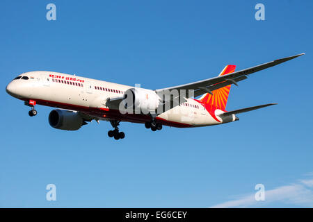 Air India Boeing 787-8 approaches runway 27L at London Heathrow airport. - Stock Photo