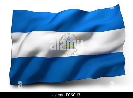 Waving flag of Nicaragua isolated on white background - Stock Photo