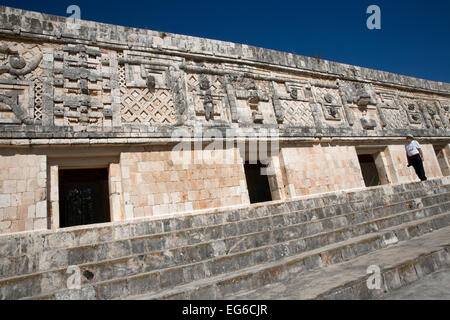 Ornate facade, Nunnery quadrangle, Uxmal, Yucatan, Mexico - Stock Photo