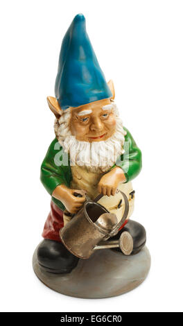 Garden Gnome Holding a Watering Can Isolated on White Background. - Stock Photo
