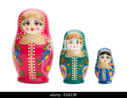 Three Traditional Russian Wood Dolls Isolated on White Background. - Stock Photo