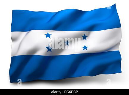 Waving flag of Honduras isolated on white background - Stock Photo