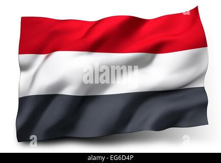 Waving flag of Yemen isolated on white background - Stock Photo