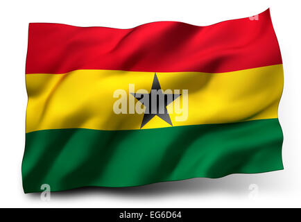 Waving flag of Ghana isolated on white background - Stock Photo