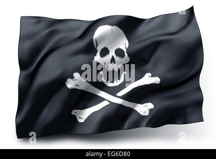 Black pirate flag Jolly Roger with skull and crossbones symbol isolated on white background - Stock Photo