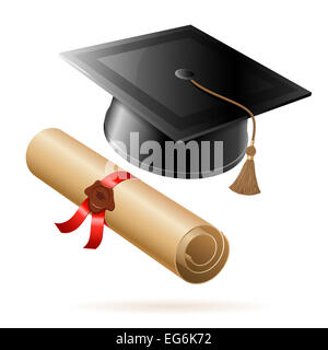 Education concept - Graduation Cap and Diploma. isolated on white background. - Stock Photo