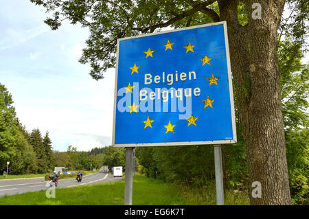 Sign at the border of Luxembourg and Belgium - Stock Photo
