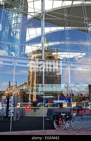 A reflection in glass at The Forum, Norwich, Norfolk, England, United Kingdom.