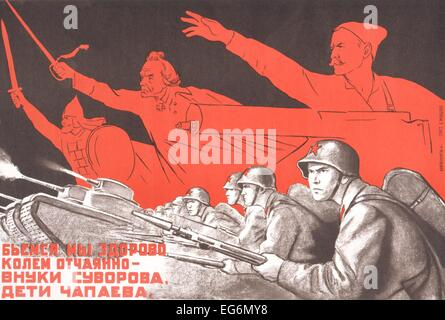Soviet World War 2 poster by Kukryniksy, 1941. 'We will fight strongly, strike desperately grandsons of Suvorov, - Stock Photo