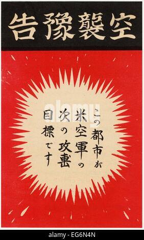 U.S. Propaganda leaflet dropped in Japan urging civilians to evacuate cities before U.S. bombing. Ca. 1944. World - Stock Photo
