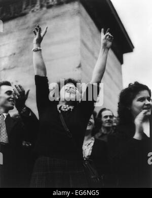 Parisian woman cheers at liberation celebration. August 29, 1944. World War 2. (BSLOC 2014 10 262) - Stock Photo