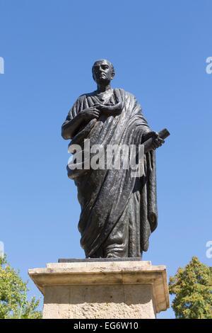 Monument to Lucius Annaeus Seneca, or Seneca the Younger, c. 4 BC – AD 65.  Roman Stoic philosopher, statesman,dramatist. - Stock Photo