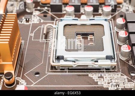 CPU Socket On Computer Motherboard - Stock Photo