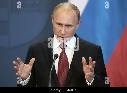 Budapest, Hungary. 17th Feb, 2015. Russia's president Vladimir Putin gestures as he speaks at a press conference - Stock Photo