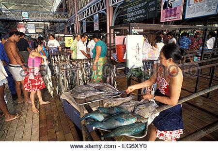 The fish market in Papeete, Tahiti, French Polynesia - Stock Photo