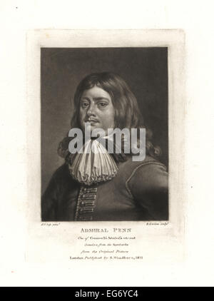 Sir William Penn, admiral for Oliver Cromwell's navy who took Jamaica from the Spanish, father of the founder of - Stock Photo
