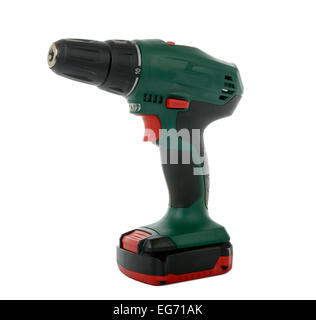 green cordless drill on the white background - Stock Photo