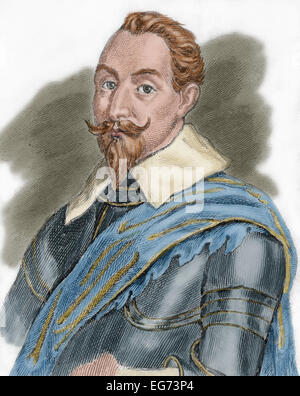 Gustav II Adolf (1594-1632). King of Sweden from 1611 to 1632. Portrait. Engraving. Colored. - Stock Photo