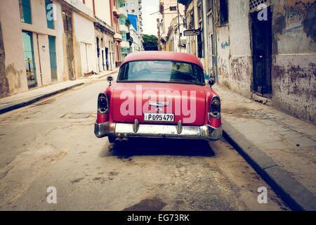 Cuban classic car parked in a central Havana street. Cuba. - Stock Photo