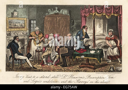 English dandies and doctor visiting a sick man in his bedroom, while servants bring soup and a bedpan. Jerry beat - Stock Photo