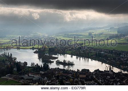 Switzerland, Schaffhausen, Stein am Rhein, view to Rhine River with Isles of Werd - Stock Photo