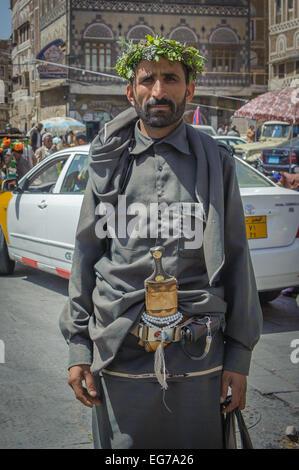 SANAA, YEMEN - February, 20: Traditionaly dressed yemeni man in the street of Sanna, Yemen, on February, 20, 2011 - Stock Photo