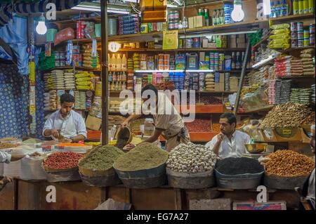 SANAA, YEMEN - February, 20: Spice market in Sanna, Yemen, on February, 20, 2011 - Stock Photo