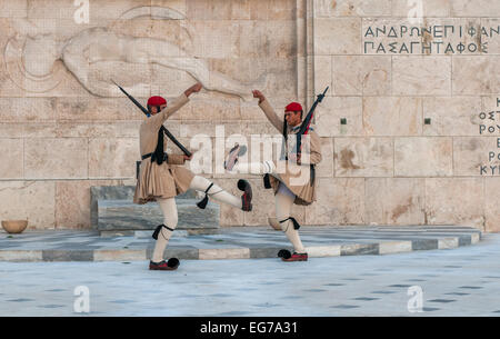 ATHENES, GREECE - March, 01: Evzones changing the guard at the Tomb of the Unknown Soldier in Athenes on March, - Stock Photo