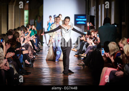 Models on the catwalk at Oxford Fashion Week - Stock Photo