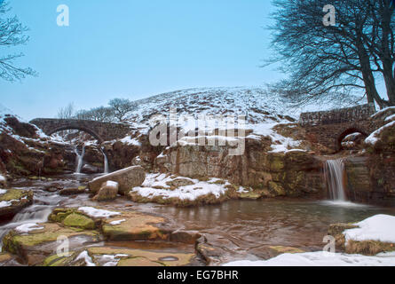 River Dane and Packhorse Bridge at Three Shire Heads-also known as Three Shires Head, near Flash, Peak District, England, UK,GB Stock Photo