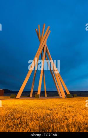 Plains Indian tipi motif for a structure in a South Dakota rest area, designed in the late 1960s by architect Ward - Stock Photo