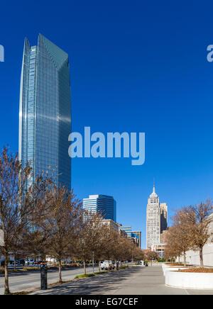 Ron Norick Boulevard (Robinson Avenue) looking towards downtown and the Devon Tower, Oklahoma City, OK, USA - Stock Photo