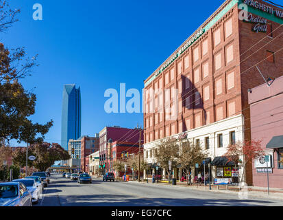 East Sheridan Avenue, looking towards the Devon Tower, in the historic Bricktown district of Oklahoma City, OK, - Stock Photo