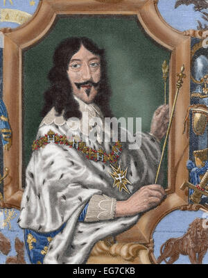 Louis XIII (1601-1643). King of France. Portrait. Engraving in 'La Historia Universal', 1885. Colored. - Stock Photo