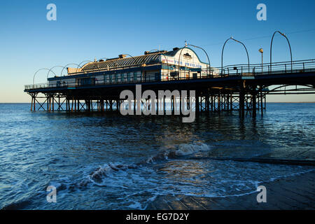 Cleethorpes Pier on the North East Lincolnshire coast at high tide. February 2015. - Stock Photo