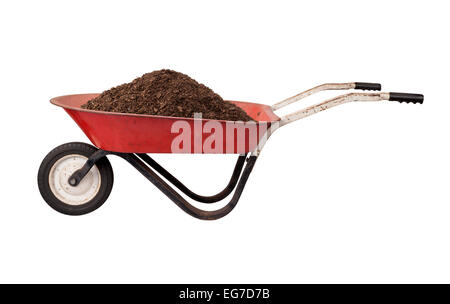 Rusty Red Wheelbarrow loaded with Soil, isolated on white. - Stock Photo