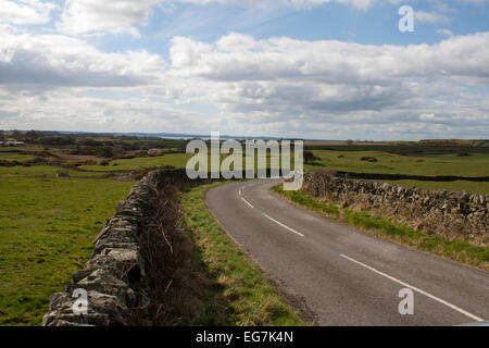 Scotland country road and stone wall - Stock Photo