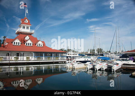 boathouse, now restaurant, of historic Hotel del Coronado and marina on Coronado Island San Diego Southern California - Stock Photo