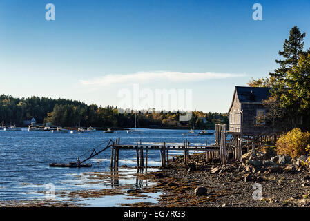 Coastal shack, Mt Desert Island, Maine, USA - Stock Photo