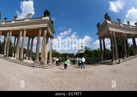 Two segmented colonnades of Sanssouci Palace, Potsdam, Germany, Europe. - Stock Photo