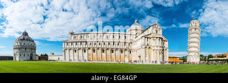 The Leaning Tower of Pisa and Pisa Cathedral, Santa Maria Assunta, with the Baptistery, Battistero, Piazza del Duomo - Stock Photo