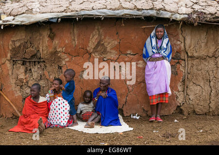MASAI MARA, KENYA - September, 23: Masai traditional village on September, 23, 2008 in in Masai Mara National Park, - Stock Photo
