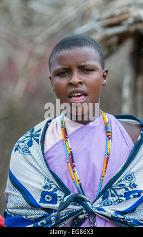 MASAI MARA, KENYA - September, 23: Young Masai woman on September, 23, 2008 in Masai Mara National Park, Kenya - Stock Photo