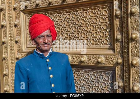 JAIPUR, INDIA - January, 27: Gate guard at City Palace on January, 27, 2013 in Jaipur, India - Stock Photo