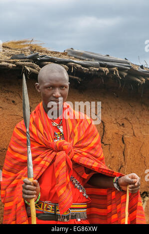 MASAI MARA, KENYA - September, 23: Young Masai man on September, 23, 2008 in in Masai Mara National Park, Kenya - Stock Photo